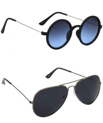 Air Strike Blue & Black Lens Multicolor & Grey Frame Stylish Shades For Men Women Boys & Girls - HCMBO3549