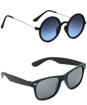 Air Strike Blue & Black Lens Multicolor & Black Frame Sun Goggles For Men Women Boys & Girls - HCMBO3569