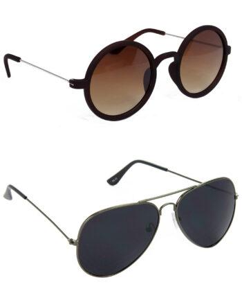 Air Strike Brown & Black Lens Silver & Grey Frame Best Goggles For Men Women Boys & Girls - HCMBO3658