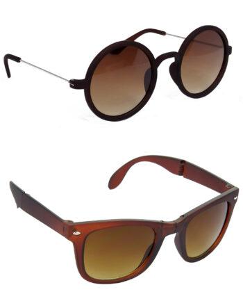 Air Strike Brown Lens Silver & Brown Frame Latest Sunglasses For Men Women Boys & Girls - HCMBO3663