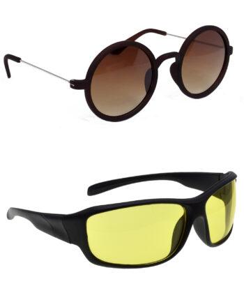 Air Strike Brown & Yellow Lens Silver & Black Frame Stylish Sunglasses For Men Women Boys & Girls - HCMBO3670