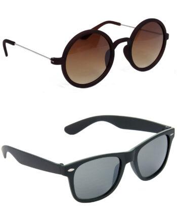 Air Strike Brown & Black Lens Silver & Black Frame UV Protection Sunglasses For Men Women Boys & Girls - HCMBO3678