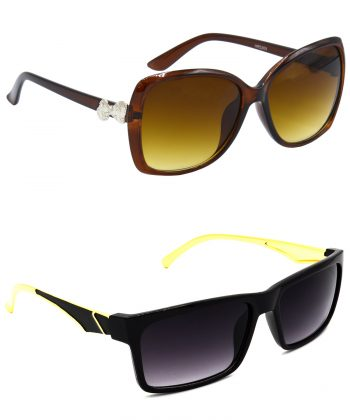 Air Strike Clear & Grey Lens Brown & Golden Frame Fashion Goggles For Men Women Boys & Girls - HCMBO4017