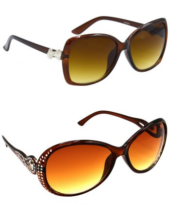 Air Strike Clear & Brown Lens Brown & Silver Frame Stylish Goggles For Women & Girls - HCMBO4026