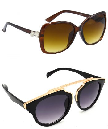Air Strike Clear & Grey Lens Brown & Golden Frame Latest Sunglasses For Men Women Boys & Girls - HCMBO4054