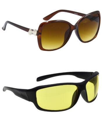 Air Strike Clear & Yellow Lens Brown & Black Frame Sun Goggles For Men Women Boys & Girls - HCMBO4096