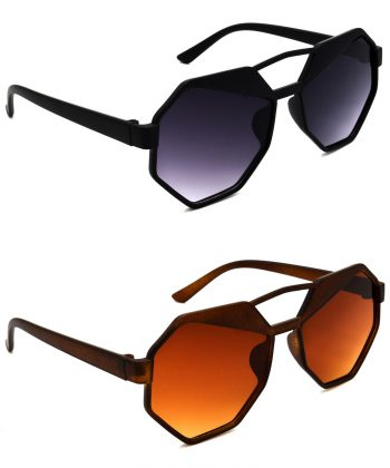 Air Strike Grey & Brown Lens Black & Brown Frame Best Sunglasses For Men Women Boys & Girls - HCMBO4322