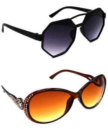 Air Strike Grey & Brown Lens Black & Silver Frame Sunglasses For Men Women Boys & Girls - HCMBO4335