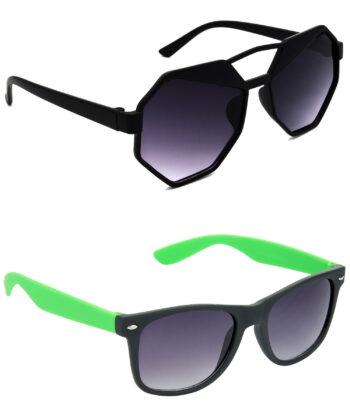 Air Strike Grey Lens Black & Green Frame Latest Sunglasses For Men Women Boys & Girls - HCMBO4411