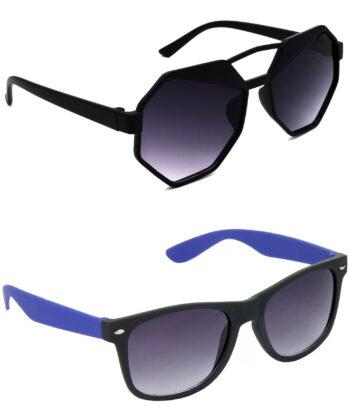 Air Strike Grey Lens Black & Blue Frame Stylish Goggles For Men Women Boys & Girls - HCMBO4417