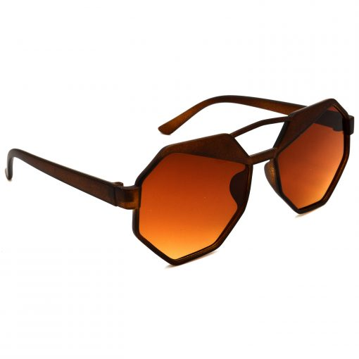 Air Strike Brown & Yellow Lens Brown & Silver Frame UV Protection Glasses For Men Women Boys & Girls - HCMBO4524 - extra -5