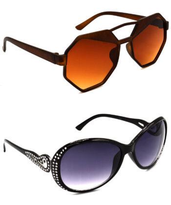 Air Strike Brown & Grey Lens Brown & Silver Frame Stylish Sunglasses For Men Women Boys & Girls - HCMBO4435