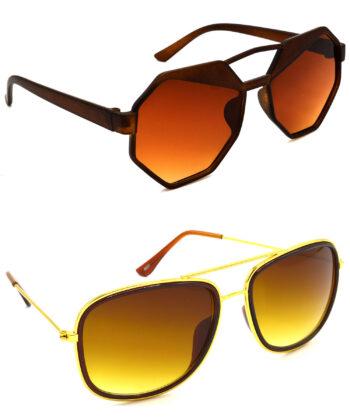 Air Strike Brown Lens Brown & Golden Frame New Sunglasses For Men Women Boys & Girls - HCMBO4448
