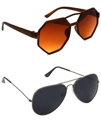 Air Strike Brown & Black Lens Brown & Grey Frame UV Protection Sunglasses For Men Women Boys & Girls - HCMBO4494