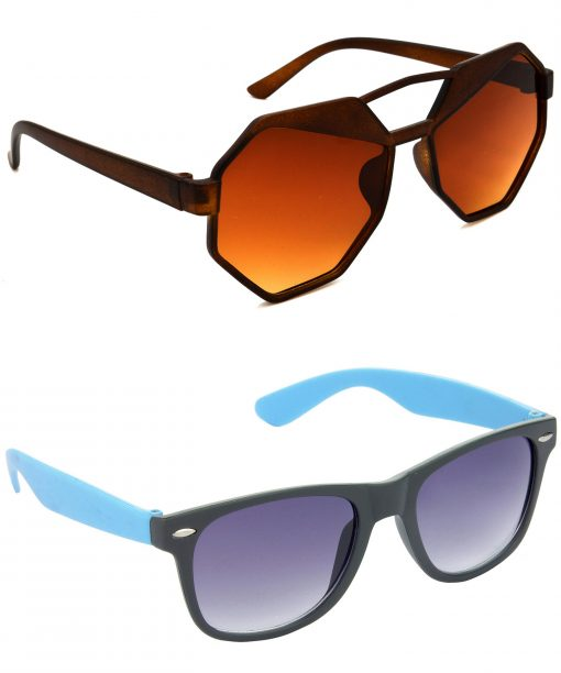 Air Strike Brown & Grey Lens Brown & Blue Frame UV Protection Sunglasses For Men Women Boys & Girls - HCMBO4511