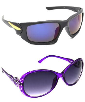 Air Strike Blue & Grey Lens Black & Violet Frame Stylish Sunglasses For Men Women Boys & Girls - HCMBO4537