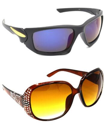 Air Strike Blue & Brown Lens Black & Silver Frame Sunglasses Styles For Men Women Boys & Girls - HCMBO4540