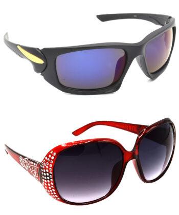 Air Strike Blue & Grey Lens Black & Silver Frame Best Goggles For Men Women Boys & Girls - HCMBO4542