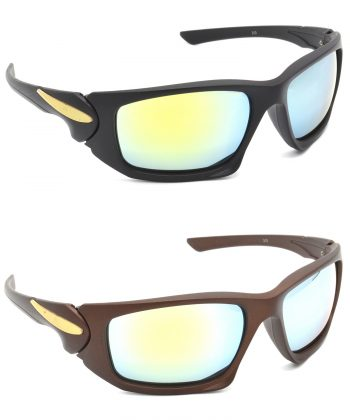 Air Strike Silver Lens Black & Brown Frame Sunglasses Styles For Men & Boys - HCMBO4625