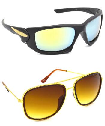 Air Strike Silver & Brown Lens Black & Golden Frame UV Protection Sunglasses For Men Women Boys & Girls - HCMBO4647