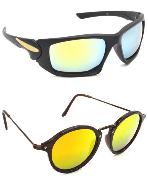 Air Strike Silver & Golden Lens Black & Brown Frame New Sunglasses For Men Women Boys & Girls - HCMBO4669