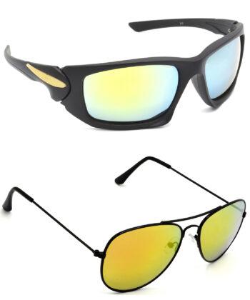 Air Strike Silver & Golden Lens Black Frame Sunglasses Styles For Men Women Boys & Girls - HCMBO4676