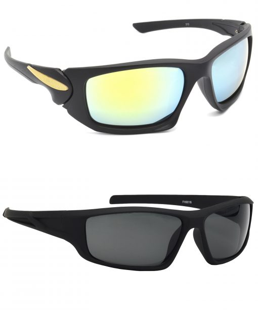 Air Strike Silver & Grey Lens Black Frame Stylish Shades For Men & Boys - HCMBO4688