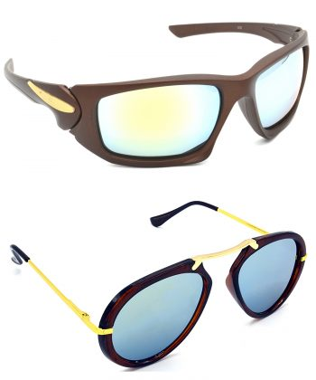 Air Strike Silver Lens Brown & Golden Frame Stylish Shades For Men Women Boys & Girls - HCMBO4756