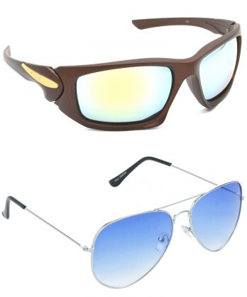 Air Strike Silver & Blue Lens Brown & Silver Frame Stylish Shades For Men & Boys - HCMBO4790