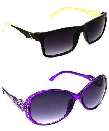 Air Strike Grey Lens Golden & Violet Frame Best Goggles For Men Women Boys & Girls - HCMBO4831