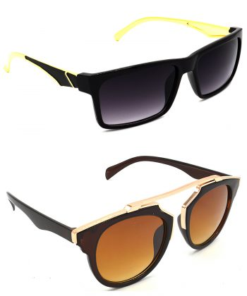Air Strike Grey & Brown Lens Golden Frame Stylish Goggles For Men Women Boys & Girls - HCMBO4859