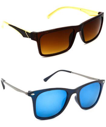 Air Strike Brown & Silver Lens Golden Frame New Sunglasses For Men Women Boys & Girls - HCMBO4975