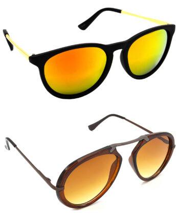 Air Strike Golden & Clear Lens Golden & Brown Frame New Goggles For Men Women Boys & Girls - HCMBO5042