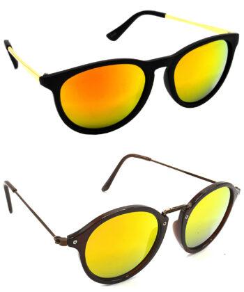 Air Strike Golden Lens Golden & Brown Frame UV Protection Sunglasses For Men Women Boys & Girls - HCMBO5055