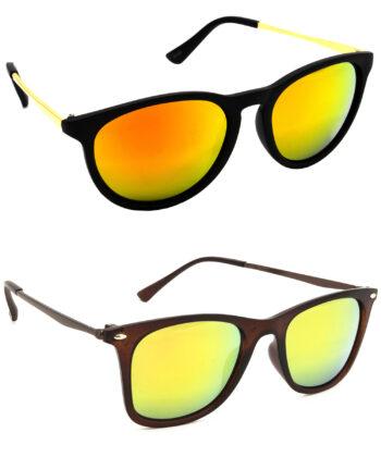 Air Strike Golden Lens Golden & Brown Frame Latest Goggles For Men Women Boys & Girls - HCMBO5073