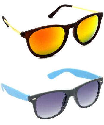 Air Strike Golden & Grey Lens Golden & Blue Frame Fashion Goggles For Men Women Boys & Girls - HCMBO5190