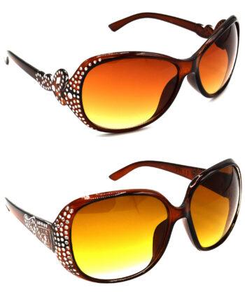 Air Strike Brown Lens Silver Frame Sunglasses For Women & Girls - HCMBO5304