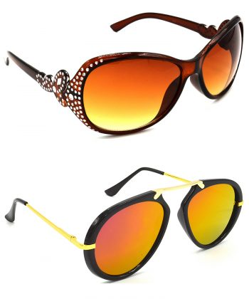 Air Strike Brown & Pink Lens Silver & Golden Frame Stylish Shades For Men Women Boys & Girls - HCMBO5317