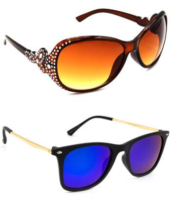 Air Strike Brown & Pink Lens Silver & Golden Frame Latest Goggles For Men Women Boys & Girls - HCMBO5345