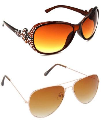 Air Strike Brown Lens Silver & Golden Frame Sunglasses Styles For Men Women Boys & Girls - HCMBO5356