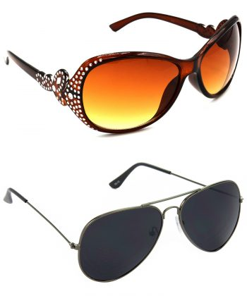 Air Strike Brown & Black Lens Silver & Grey Frame Best Goggles For Men Women Boys & Girls - HCMBO5358