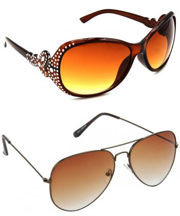 Air Strike Brown Lens Silver & Brown Frame Sun Goggles For Men Women Boys & Girls - HCMBO5371