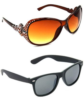 Air Strike Brown & Black Lens Silver & Black Frame UV Protection Sunglasses For Men Women Boys & Girls - HCMBO5378