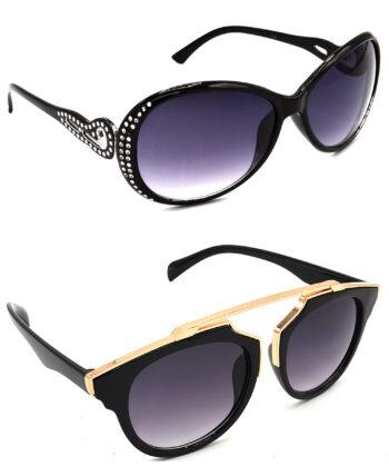 Air Strike Grey Lens Silver & Golden Frame Fashion Goggles For Men Women Boys & Girls - HCMBO5598