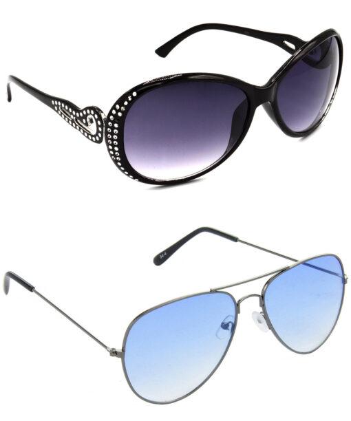 Air Strike Grey & Blue Lens Silver & Grey Frame New Sunglasses For Men Women Boys & Girls - HCMBO5655