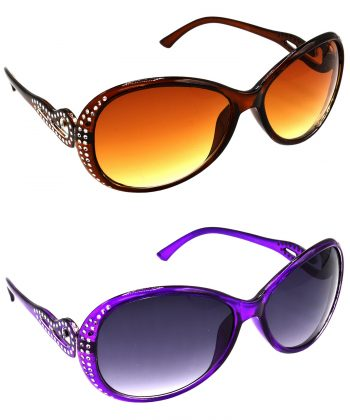 Air Strike Brown & Grey Lens Silver & Violet Frame Stylish Sunglasses For Women & Girls - HCMBO5659