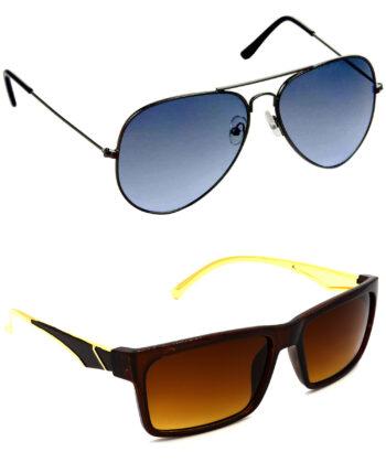 Air Strike Blue & Brown Lens Grey & Golden Frame UV Protection Sunglasses For Men Women Boys & Girls - HCMBO567