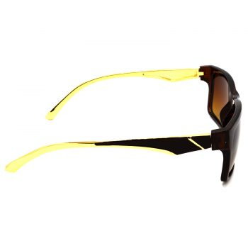 Air Strike Brown & Yellow Lens Golden & Silver Frame Sun Goggles For Men Women Boys & Girls - HCMBO5014 - extra -3