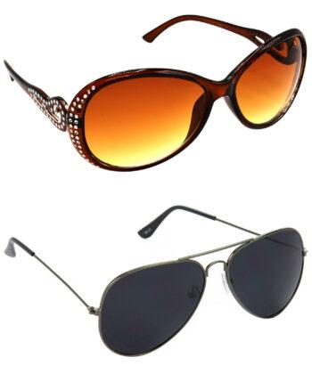 Air Strike Brown & Black Lens Silver & Grey Frame Best Sunglasses For Men Women Boys & Girls - HCMBO5716