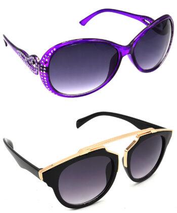 Air Strike Grey Lens Violet & Golden Frame New Goggles For Men Women Boys & Girls - HCMBO5773